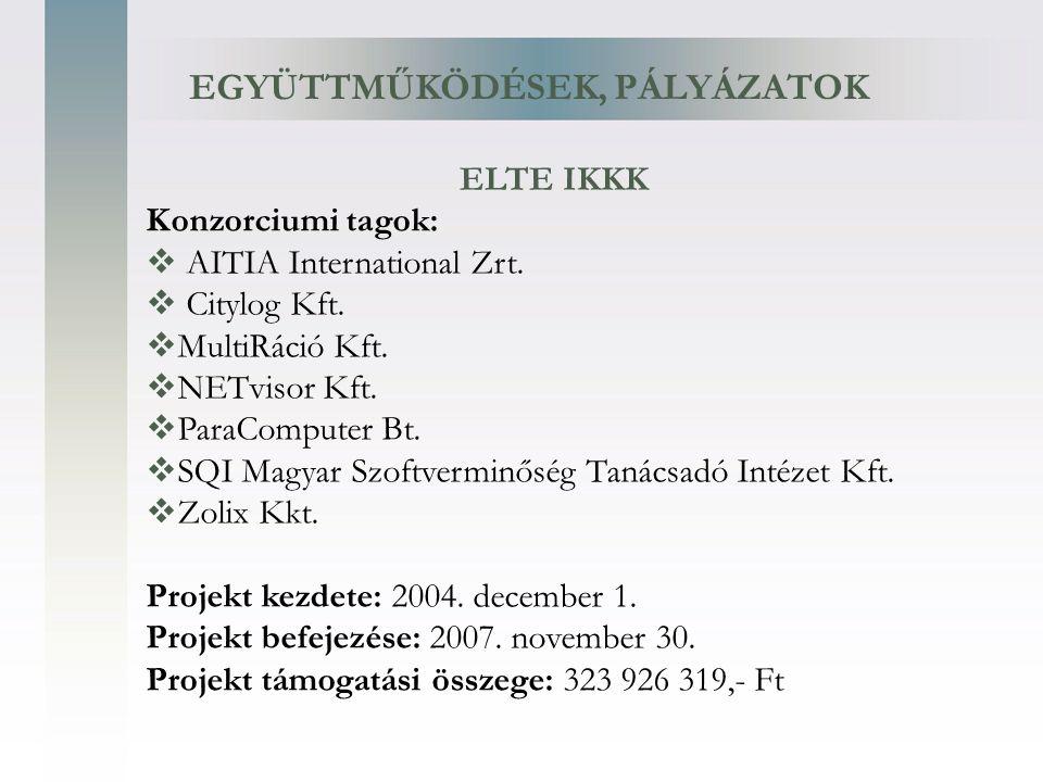EGYÜTTMŰKÖDÉSEK, PÁLYÁZATOK Konzorciumi tagok:  AITIA International Zrt.