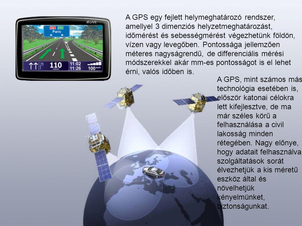 A GPS egy fejlett helymeghatározó rendszer, amellyel 3 dimenziós helyzetmeghatározást, időmérést és sebességmérést végezhetünk földön, vízen vagy leve