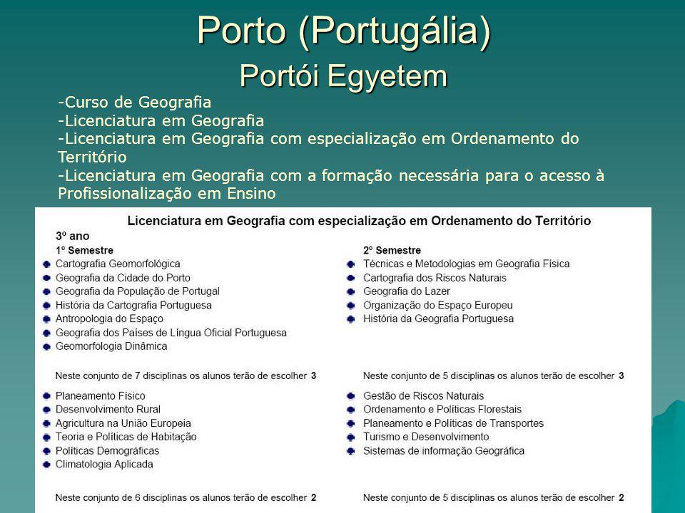 Porto (Portugália) Portói Egyetem -Curso de Geografia -Licenciatura em Geografia -Licenciatura em Geografia com especialização em Ordenamento do Território -Licenciatura em Geografia com a formação necessária para o acesso à Profissionalização em Ensino