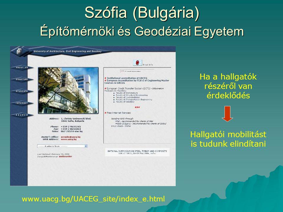 Szófia (Bulgária) Építőmérnöki és Geodéziai Egyetem www.uacg.bg/UACEG_site/index_e.html Ha a hallgatók részéről van érdeklődés Hallgatói mobilitást is tudunk elindítani