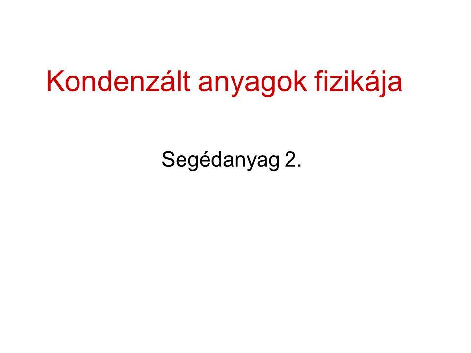 Kondenzált anyagok fizikája Segédanyag 2.