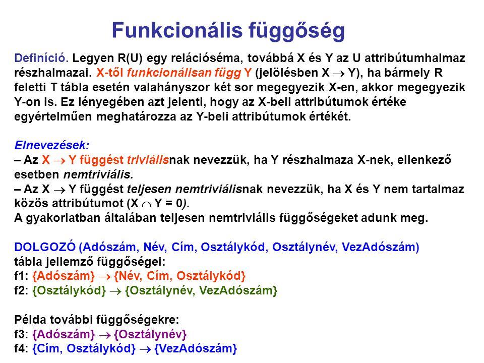Funkcionális függőség Definíció. Legyen R(U) egy relációséma, továbbá X és Y az U attribútumhalmaz részhalmazai. X-től funkcionálisan függ Y (jelölésb