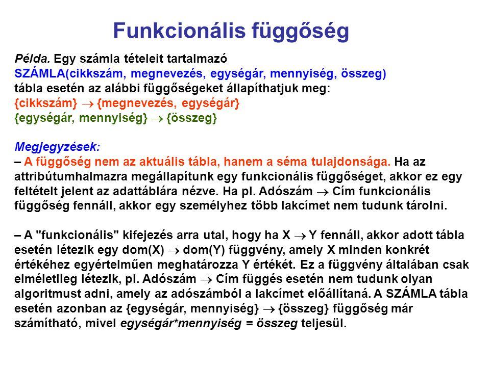 Funkcionális függőség Példa. Egy számla tételeit tartalmazó SZÁMLA(cikkszám, megnevezés, egységár, mennyiség, összeg) tábla esetén az alábbi függősége