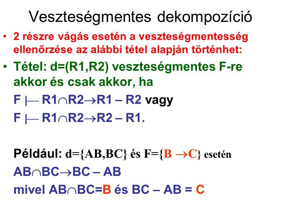 Veszteségmentes dekompozíció 2 részre vágás esetén a veszteségmentesség ellenőrzése az alábbi tétel alapján történhet: Tétel: d=(R1,R2) veszteségmente