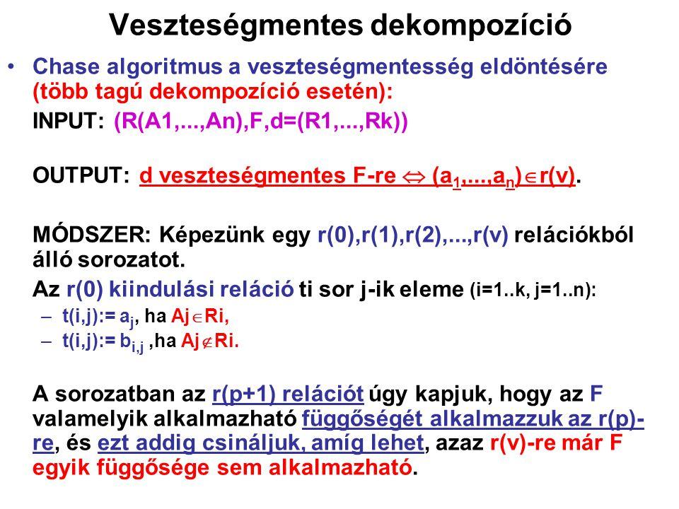 Veszteségmentes dekompozíció Chase algoritmus a veszteségmentesség eldöntésére (több tagú dekompozíció esetén): INPUT: (R(A1,...,An),F,d=(R1,...,Rk))