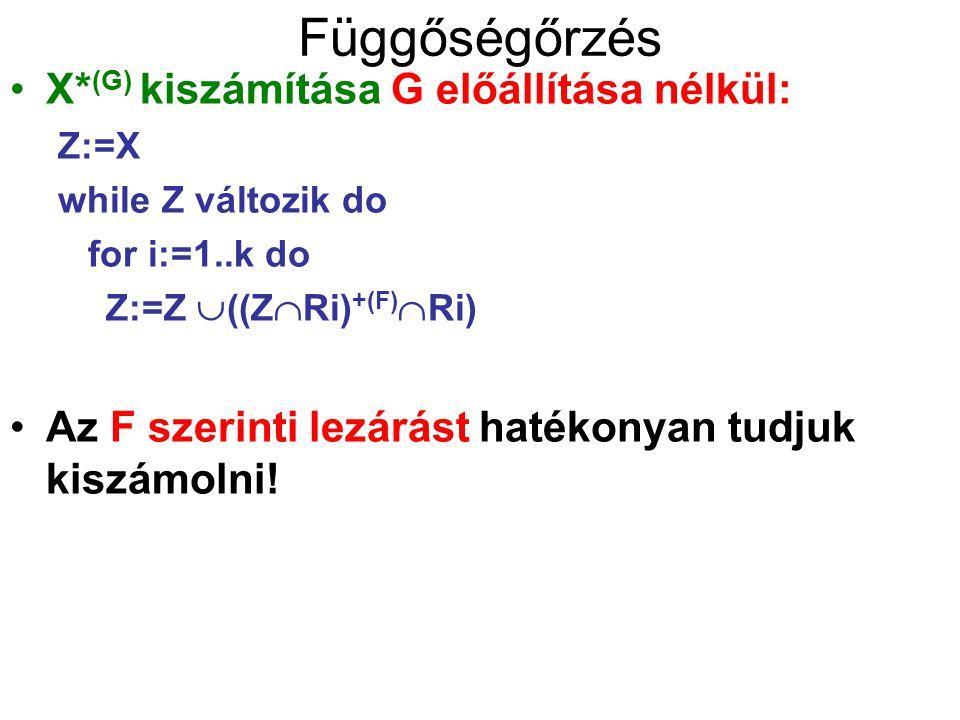 Függőségőrzés X* (G) kiszámítása G előállítása nélkül: Z:=X while Z változik do for i:=1..k do Z:=Z  ((Z  Ri) +(F)  Ri) Az F szerinti lezárást hat