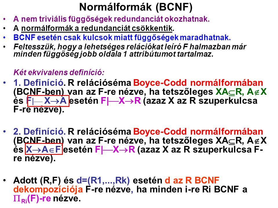 Normálformák (BCNF) A nem triviális függőségek redundanciát okozhatnak. A normálformák a redundanciát csökkentik. BCNF esetén csak kulcsok miatt függő