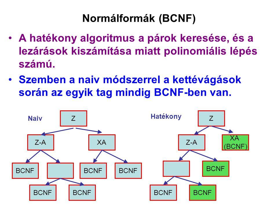 Normálformák (BCNF) A hatékony algoritmus a párok keresése, és a lezárások kiszámítása miatt polinomiális lépés számú. Szemben a naiv módszerrel a ket