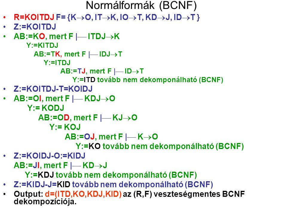 Normálformák (BCNF) R=KOITDJ F= {K  O, IT  K, IO  T, KD  J, ID  T } Z:=KOITDJ AB:=KO, mert F    ITDJ  K Y:=KITDJ AB:=TK, mert F    IDJ  T Y:=