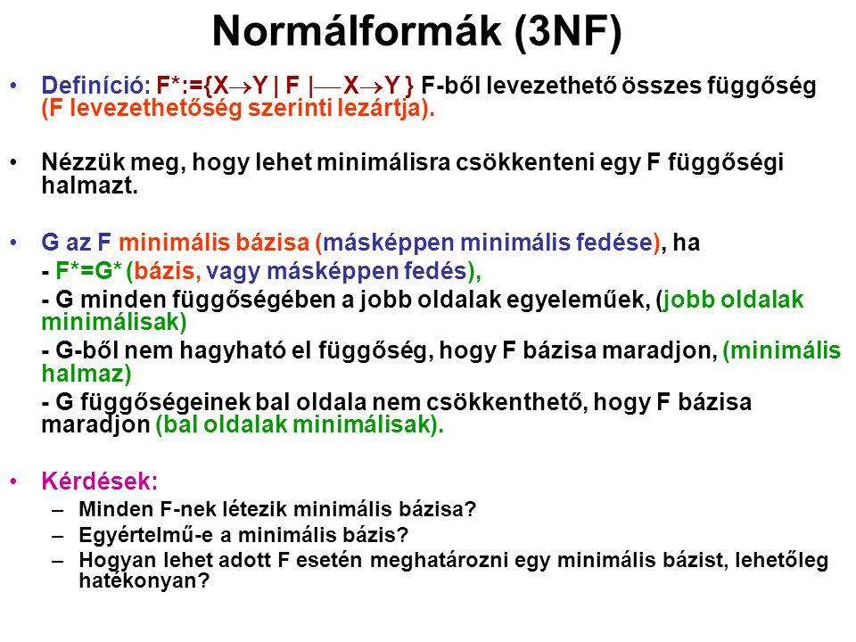 Normálformák (3NF) Definíció: F*:={X  Y   F     X  Y } F-ből levezethető összes függőség (F levezethetőség szerinti lezártja). Nézzük meg, hogy le