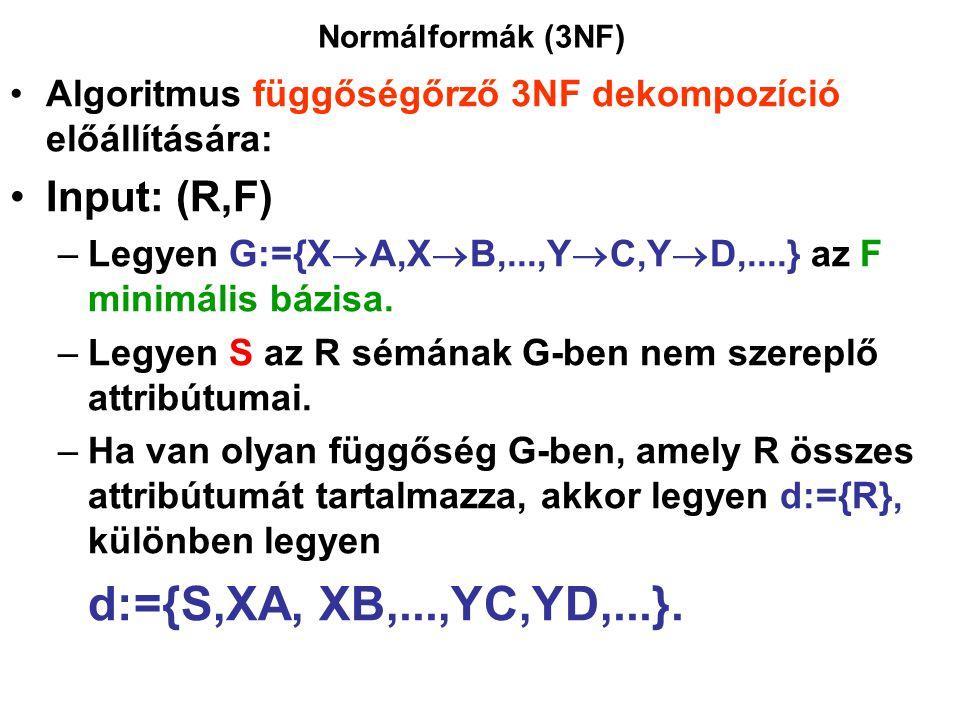 Normálformák (3NF) Algoritmus függőségőrző 3NF dekompozíció előállítására: Input: (R,F) –Legyen G:={X  A,X  B,...,Y  C,Y  D,....} az F minimális b