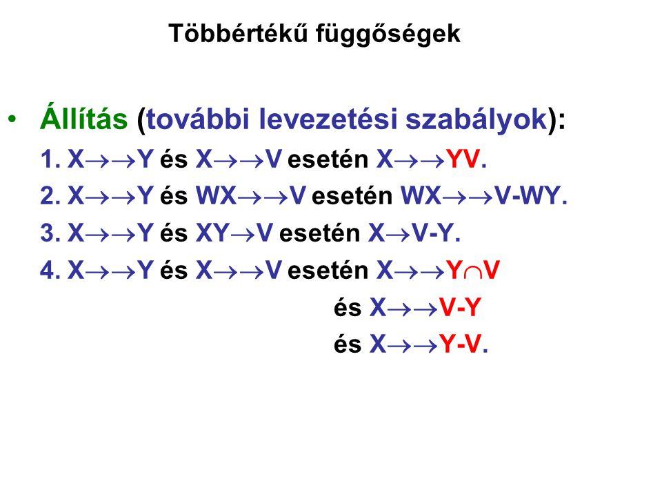 Többértékű függőségek Állítás (további levezetési szabályok): 1.X  Y és X  V esetén X  YV. 2.X  Y és WX  V esetén WX  V-WY. 3.X  Y és XY