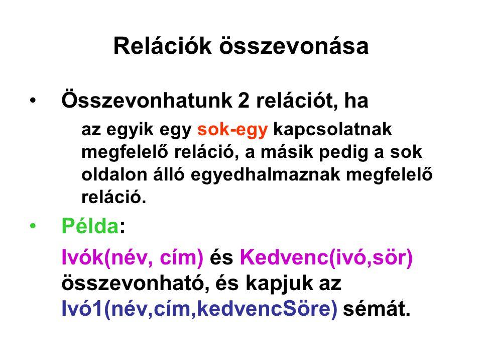 Relációk összevonása Összevonhatunk 2 relációt, ha az egyik egy sok-egy kapcsolatnak megfelelő reláció, a másik pedig a sok oldalon álló egyedhalmazna