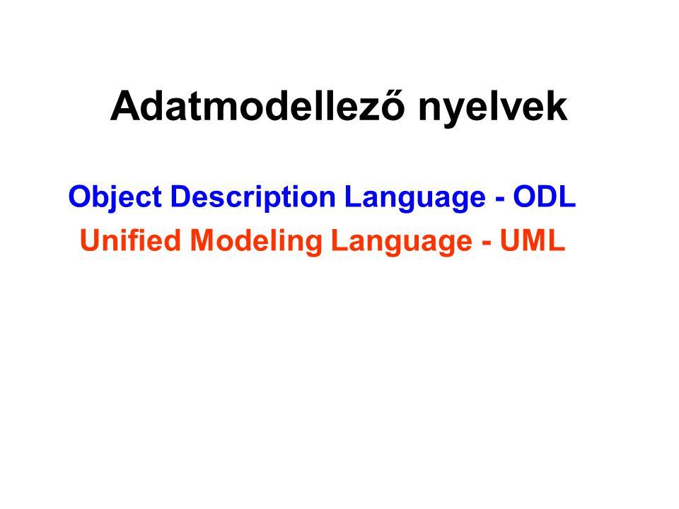 Adatmodellező nyelvek Object Description Language - ODL Unified Modeling Language - UML