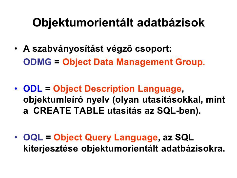 Objektumorientált adatbázisok A szabványosítást végző csoport: ODMG = Object Data Management Group. ODL = Object Description Language, objektumleíró n