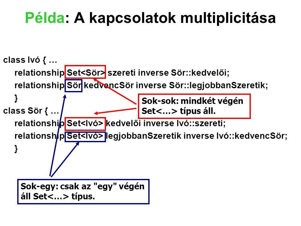 Példa: A kapcsolatok multiplicitása class Ivó { … relationship Set szereti inverse Sör::kedvelői; relationship Sör kedvencSör inverse Sör::legjobbanSz