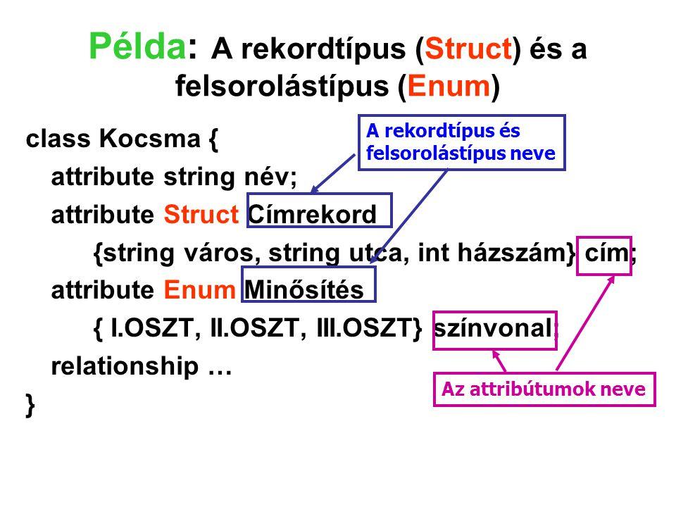 Példa: A rekordtípus (Struct) és a felsorolástípus (Enum) class Kocsma { attribute string név; attribute Struct Címrekord {string város, string utca,