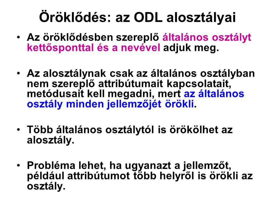 Öröklődés: az ODL alosztályai Az öröklődésben szereplő általános osztályt kettősponttal és a nevével adjuk meg. Az alosztálynak csak az általános oszt