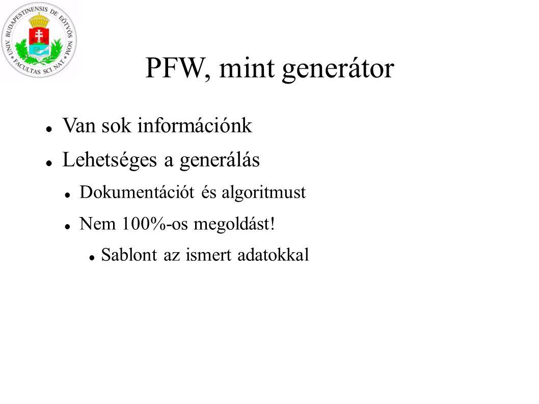 PFW, mint generátor Van sok információnk Lehetséges a generálás Dokumentációt és algoritmust Nem 100%-os megoldást! Sablont az ismert adatokkal