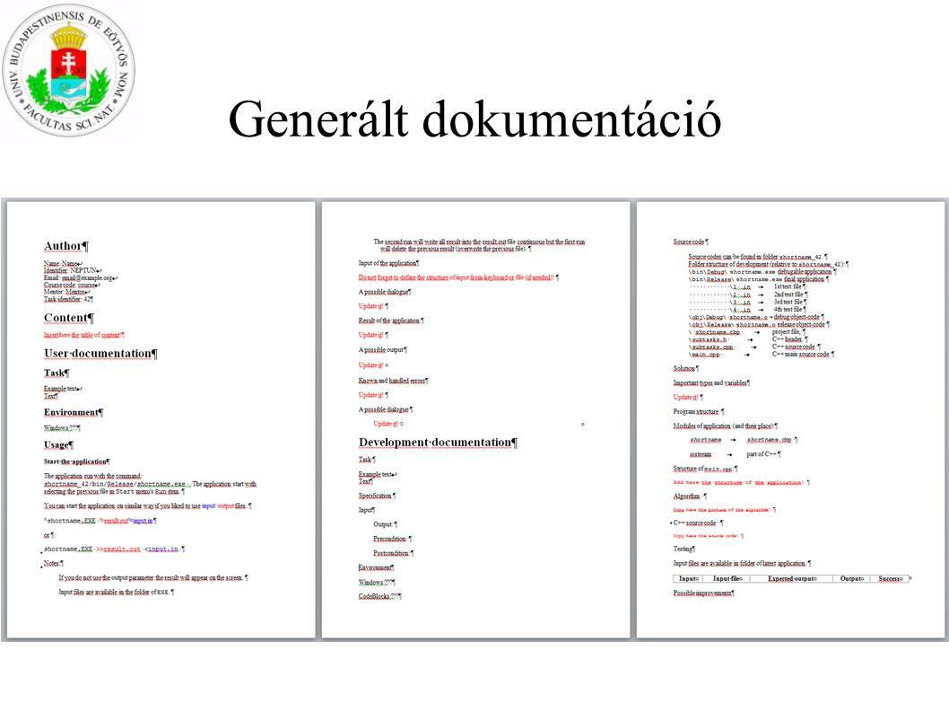 Generált dokumentáció NSD