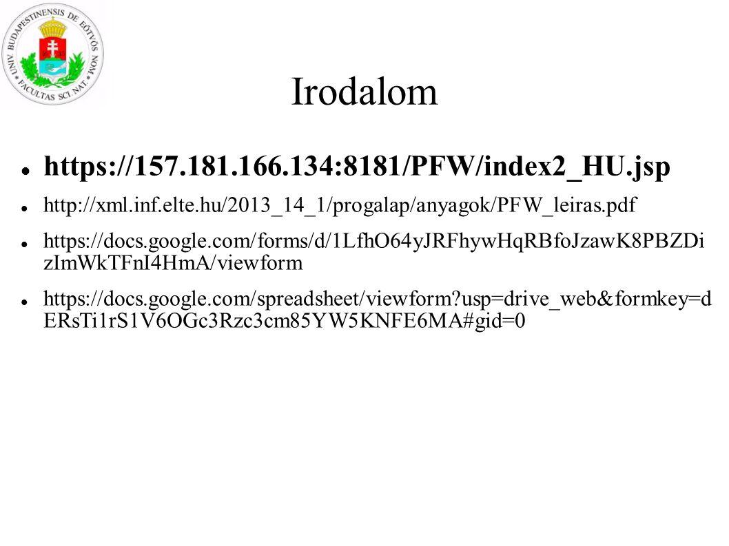 Irodalom https://157.181.166.134:8181/PFW/index2_HU.jsp http://xml.inf.elte.hu/2013_14_1/progalap/anyagok/PFW_leiras.pdf https://docs.google.com/forms/d/1LfhO64yJRFhywHqRBfoJzawK8PBZDi zImWkTFnI4HmA/viewform https://docs.google.com/spreadsheet/viewform?usp=drive_web&formkey=d ERsTi1rS1V6OGc3Rzc3cm85YW5KNFE6MA#gid=0