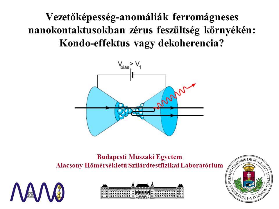 Budapesti Műszaki Egyetem Alacsony Hőmérsékletű Szilárdtestfizikai Laboratórium Vezetőképesség-anomáliák ferromágneses nanokontaktusokban zérus feszültség környékén: Kondo-effektus vagy dekoherencia