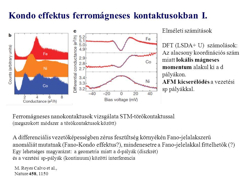 Ferromágneses nanokontaktusok vizsgálata STM-törőkontaktussal (megszokott módszer a törőkontaktusok között) A differenciális vezetőképességben zérus feszültség környékén Fano-jelalakszerű anomáliát mutatnak (Fano-Kondo effektus ), mindenesetre a Fano-jelelakkal fittelhetők ( ) Egy lehetséges magyarázat: a geometria miatt a d-pályák (diszkrét) és a vezetési sp-pályák (kontinuum) közötti interferencia Kondo effektus ferromágneses kontaktusokban I.