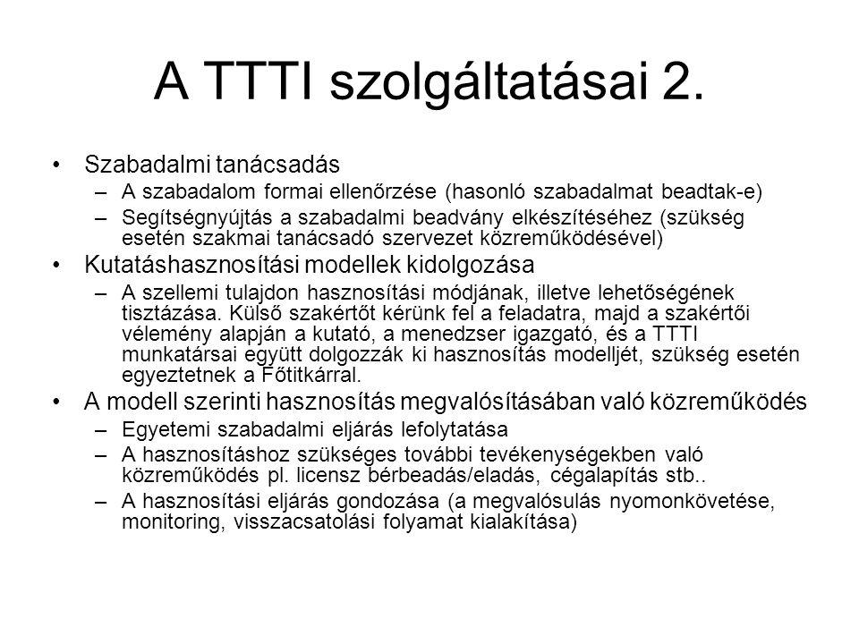 A TTTI szolgáltatásai 2.