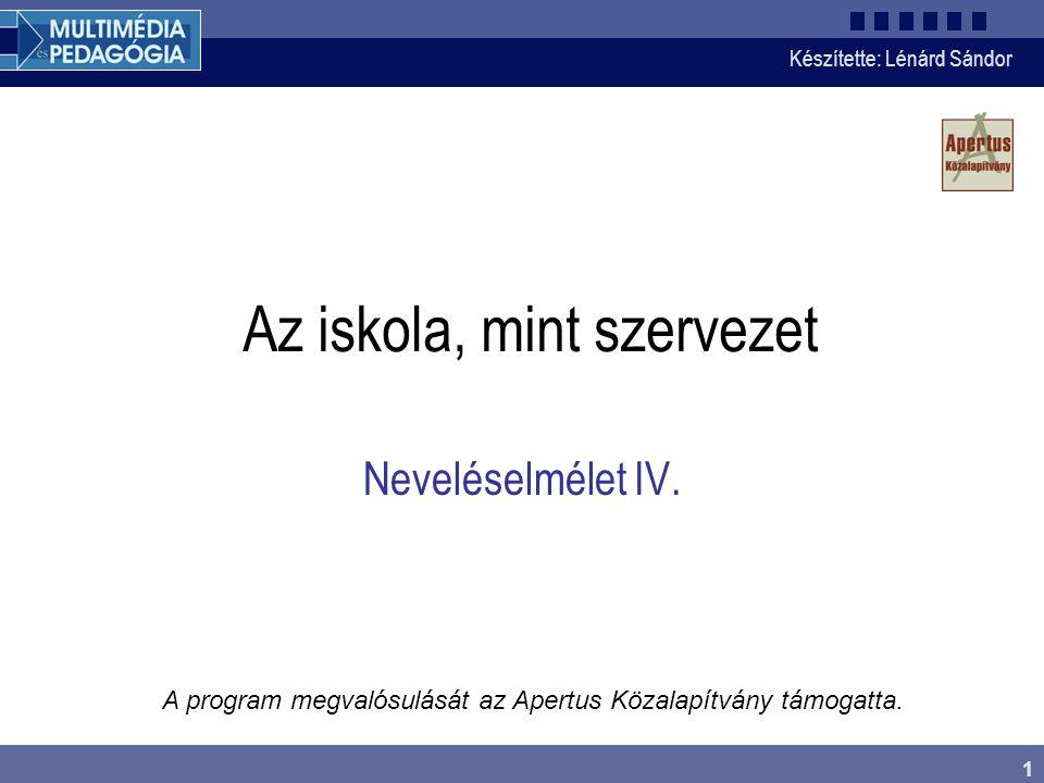 Készítette: Lénárd Sándor 1 Az iskola, mint szervezet A program megvalósulását az Apertus Közalapítvány támogatta.