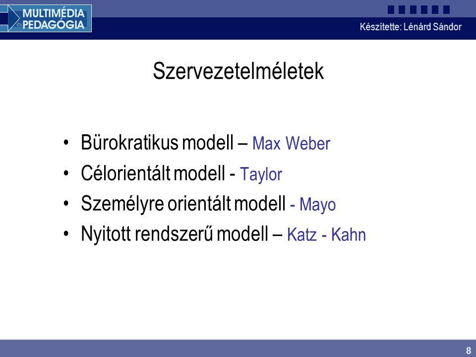 Készítette: Lénárd Sándor 8 Szervezetelméletek Bürokratikus modell – Max Weber Célorientált modell - Taylor Személyre orientált modell - Mayo Nyitott rendszerű modell – Katz - Kahn