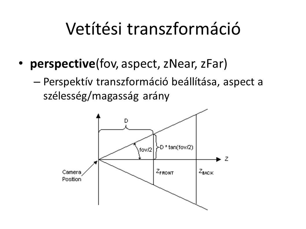 Vetítési transzformáció perspective(fov, aspect, zNear, zFar) – Perspektív transzformáció beállítása, aspect a szélesség/magasság arány
