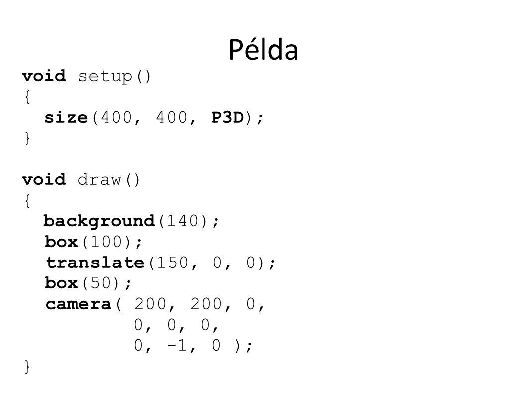 Példa void setup() { size(400, 400, P3D); } void draw() { background(140); box(100); translate(150, 0, 0); box(50); camera( 200, 200, 0, 0, 0, 0, 0, -