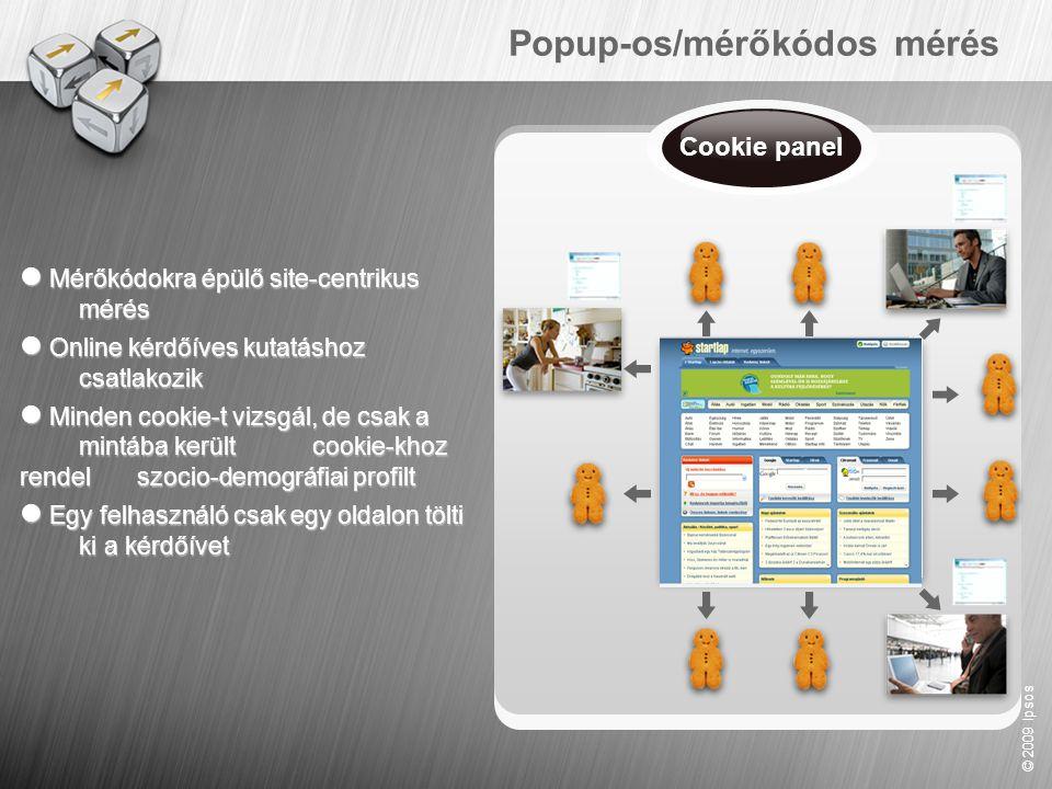 © 2009 Ipsos Popup-os/mérőkódos mérés  Mérőkódokra épülő site- centrikus mérés  Online kérdőíves kutatáshoz csatlakozik  Minden cookie-t vizsgál, d