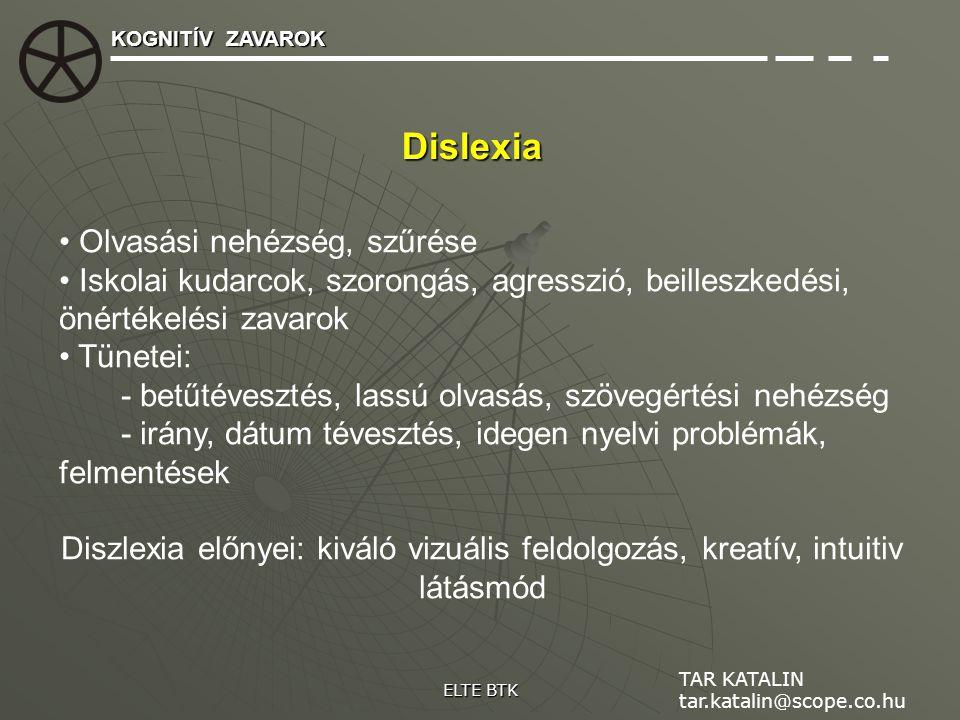 Dislexia Olvasási nehézség, szűrése Iskolai kudarcok, szorongás, agresszió, beilleszkedési, önértékelési zavarok Tünetei: - betűtévesztés, lassú olvas