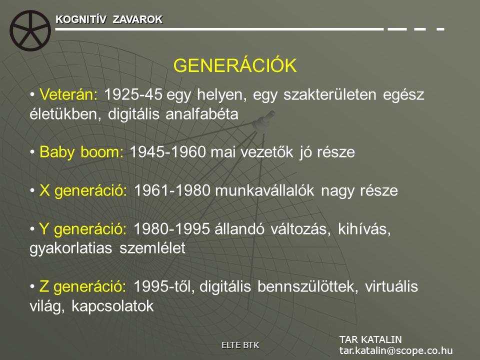 Veterán: 1925-45 egy helyen, egy szakterületen egész életükben, digitális analfabéta Baby boom: 1945-1960 mai vezetők jó része X generáció: 1961-1980