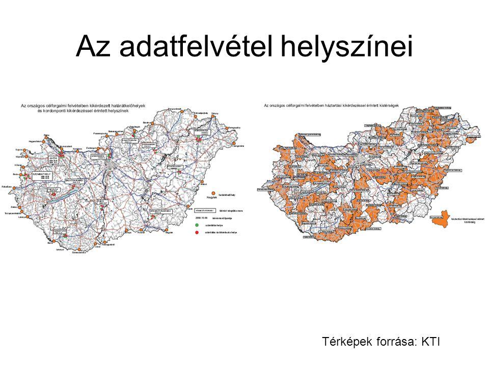 Az adatfelvétel helyszínei Térképek forrása: KTI