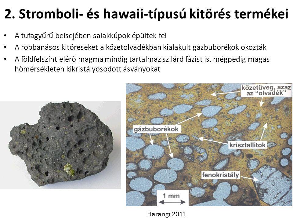 2. Stromboli- és hawaii-típusú kitörés termékei A tufagyűrű belsejében salakkúpok épültek fel A robbanásos kitöréseket a kőzetolvadékban kialakult gá