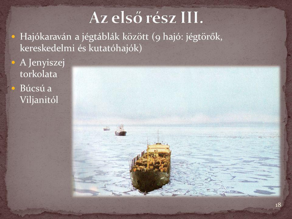 Hajókaraván a jégtáblák között (9 hajó: jégtörők, kereskedelmi és kutatóhajók) A Jenyiszej torkolata Búcsú a Viljanitól 18