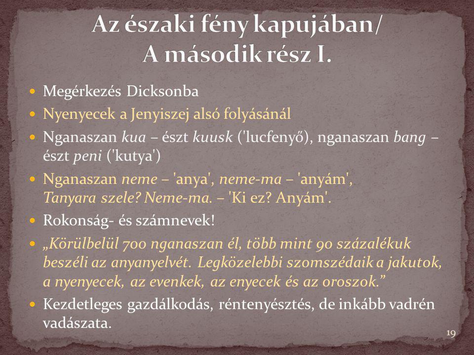 Megérkezés Dicksonba Nyenyecek a Jenyiszej alsó folyásánál Nganaszan kua – észt kuusk ('lucfenyő), nganaszan bang – észt peni ('kutya') Nganaszan neme