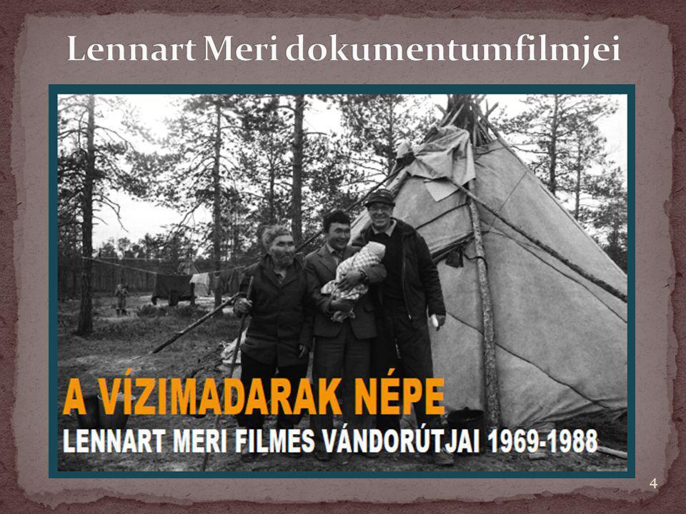 """1970  A vízimadarak népe 1977  A Tejút fiai 1985  Kalev hangjai 1989  Tórum fiai 1977/1997  Sámán """"…az első külföldön is figyelmet keltő filmek voltak a finnugor népekről, amelyek áttekintést adtak ősi szokásokról, szertartásokról, népköltészetről, néprajzról, és izgalmas feltevéseket fogalmaztak meg."""