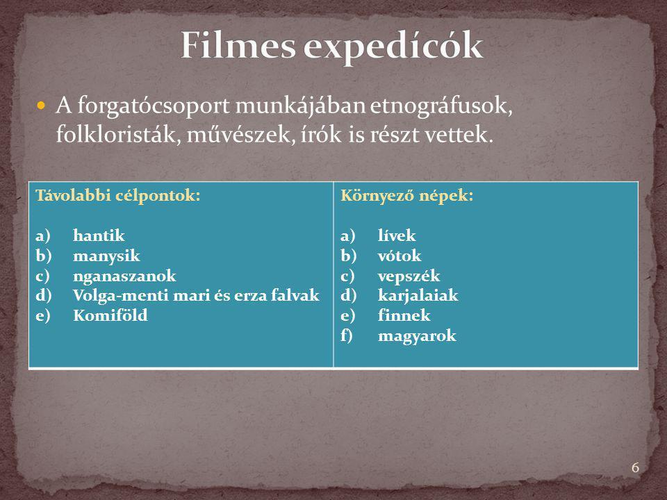 A forgatócsoport munkájában etnográfusok, folkloristák, művészek, írók is részt vettek. 6 Távolabbi célpontok: a)hantik b)manysik c)nganaszanok d)Volg