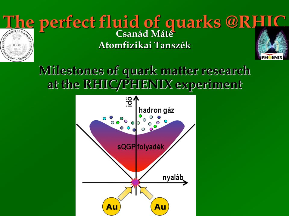 The perfect fluid of quarks @RHIC Milestones of quark matter research at the RHIC/PHENIX experiment Csanád Máté Atomfizikai Tanszék sQGP folyadék hadr