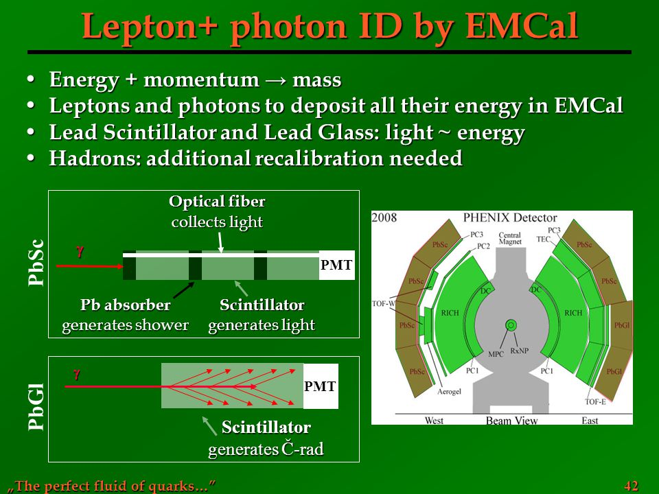 """The perfect fluid of quarks…"" 42 Lepton+ photon ID by EMCal Energy + momentum → mass Energy + momentum → mass Leptons and photons to deposit all thei"