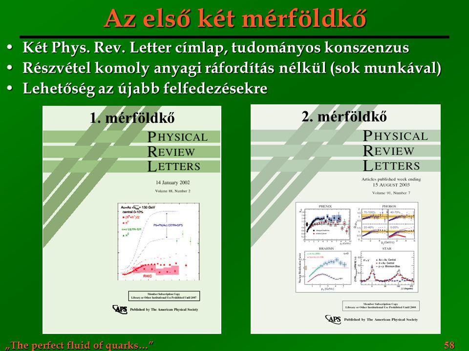 """""""The perfect fluid of quarks…"""" 58 Az első két mérföldkő Két Phys. Rev. Letter címlap, tudományos konszenzus Két Phys. Rev. Letter címlap, tudományos k"""