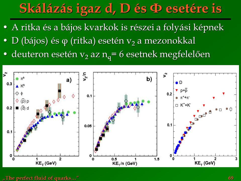 """""""The perfect fluid of quarks…"""" 69 Skálázás igaz d, D és Φ esetére is A ritka és a bájos kvarkok is részei a folyási képnekA ritka és a bájos kvarkok i"""