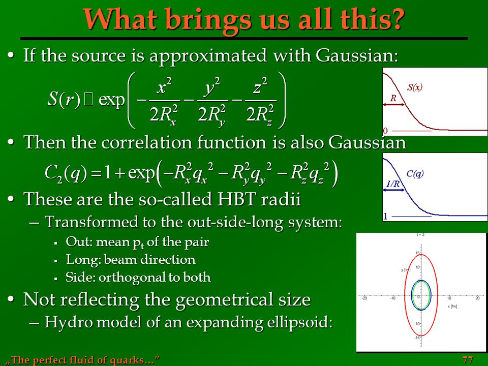 """The perfect fluid of quarks…"" 77 What brings us all this? If the source is approximated with Gaussian:If the source is approximated with Gaussian: Th"