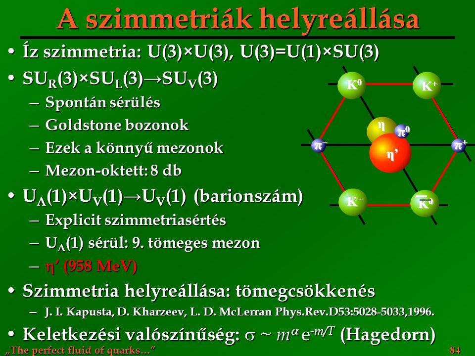 """The perfect fluid of quarks…"" 84 A szimmetriák helyreállása Íz szimmetria: U(3)×U(3), U(3)=U(1)×SU(3) Íz szimmetria: U(3)×U(3), U(3)=U(1)×SU(3) SU R"