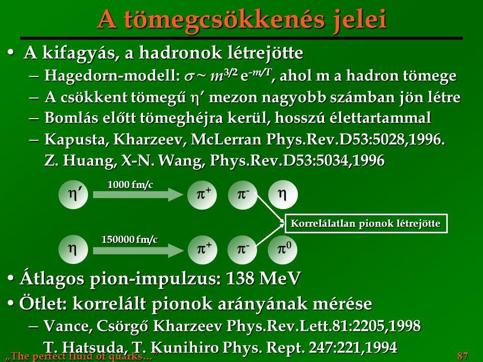 """""""The perfect fluid of quarks…"""" 87 A tömegcsökkenés jelei A kifagyás, a hadronok létrejötte A kifagyás, a hadronok létrejötte ─ Hagedorn-modell:  ~ m"""