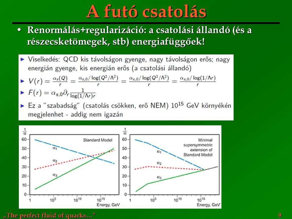 """""""The perfect fluid of quarks…"""" A futó csatolás Renormálás+regularizáció: a csatolási állandó (és a részecsketömegek, stb) energiafüggőek! Renormálás+r"""
