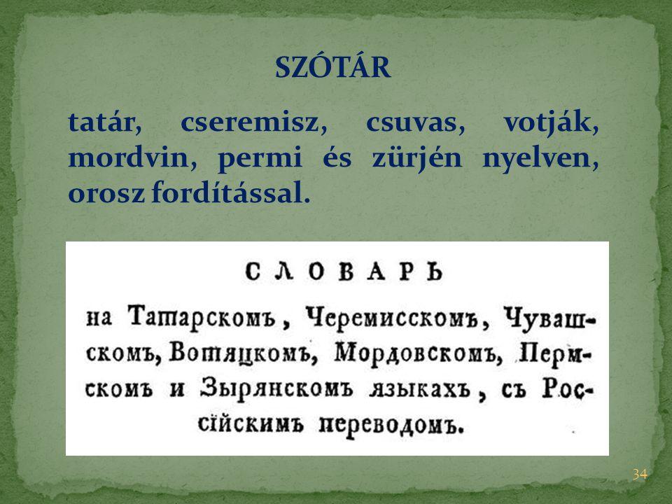 34 SZÓTÁR tatár, cseremisz, csuvas, votják, mordvin, permi és zürjén nyelven, orosz fordítással.